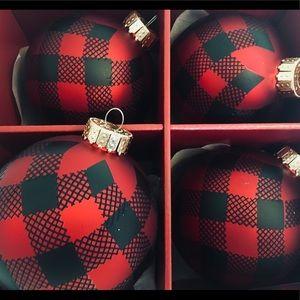 4 Large Buffalo Plaid Glass Ball Ornaments Red